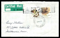 Lot 13722:Forest Hills Centre: - WWW #20 'FOREST HILLS CENTRE/24OC83/VIC-AUST' (arcs 2,2) on 55c Rat & 60c Butterfly on cover (overprinted with Blackburn Mail Centre slogan cancel) with green & white Certified Label, to Melbourne.  PO 15/11/1965; renamed Forest Hill PO 8/1/1985.
