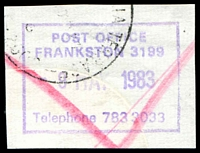 Lot 15048:Frankston (1): - WWW #215 violet boxed 'POST OFFICE/FRANKSTON 3199/8MAY1983/Telephone 783 3033' (ERD) on reg. piece, partly o/struck with cds. [Not rated but quite rare.]  PO 1/9/1857; renamed Frankston Business Centre BC 29/5/1995.