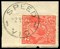 Lot 3108:Speed: - WWW #10 27mm 'SPEED/2MY22/VIC' on 2d red KGV.  RO 1/10/1910; PO 3/8/1912; LPO 1/3/1994.