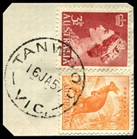 Lot 3008:Tanwood (1): - WWW #10 'TANWOOD/16JA57/VIC.', on ½d Roo & 3½d red QEII.  Renamed from Wattle Grove RO 22/1/1919; PO 1/7/1927; closed 31/1/1959.
