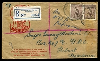 Lot 842:Singer Sewing Machine Company illustrated cover franked with 6d Kookaburra pair, cancelled with poor Elizabeth St, Melbourne cds, blue registration label (partly covering illustration), addressed to Hobart, biro annotations on front.