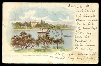 Lot 867 [2 of 2]:Homebush: - 2 strikes of framed 'HOMEBUSH/JA15/1904/N.S.W' on 1d Arms on multicoloured PPC 'Government House, Sydney' Oceana Series A (soiled, writing on front), unframed 'BOONAH/1904/JA19/QUEENSLAND' (A1-) arrival on front.  TO 13/12/1877; PO 1/1/1878; closed 30/8/1996.