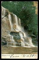 Lot 1288 [1 of 2]:Katoomba: - multi-coloured PPC 'Katoomba Falls' franked with 1d Arms and cancelled with illegible cds and BN, framed 'PARKVILLE/SP8/1906/N.S.W' (A2) arrival, some writing on front.  RO 1/2/1879; PO 16/8/1880.
