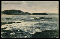 Lot 1458 [1 of 2]:Tweed Heads: - black & white PPC 'Beach Near Tweed Heads' Edco Series, franked with 1d Arms, framed 'TWEED HEADS/MR9/1908/N.S.W' (A1-) cds, rough edges, clipped corner.  PO 1/7/1878.