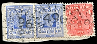 Lot 5266:496: 3 strikes of rays (3R16) on 1d Arms & 2d blue QV pair.  Allocated to Croki-PO 1/2/1868; renamed Croki Manning River PO 24/7/1874; renamed Jones' Island PO 21/12/1896; closed 29/10/1982.
