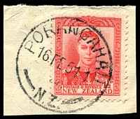 Lot 4015:Porangahau: 'PORANGAHAU/16FE51.1/N.Z.' on 1½d red KGVI.  PO 1/7/1859; closed 4/8/1990.