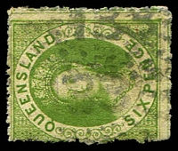 Lot 6884:133: 2 strikes of rays (N2a - rounded '3's), on 6d green Chalon. [Rated 2R]  Allocated to Myall Creek-PO 1/8/1854; renamed Dalby PO c.1855.