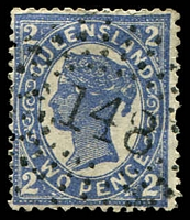Lot 6896:148: rays on 2d 4-Corners.  Allocated to Bundaberg-PO 1/1/1871.