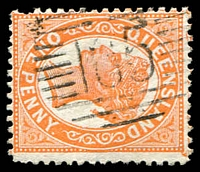 Lot 6915:165: right half 12-Bar Duplex on 1d orange Void-Oval.  Allocated to Charters Towers-PO 17/5/1872.