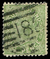 Lot 8163:182: '182' BN on 6d green Lined-Oval. [Rated 4R]  Allocated to Neardie-PO 22/9/1881; RO c.1902; closed c.-/7/1909.