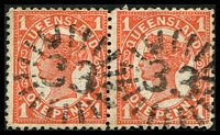 Lot 8012:33: 2 strikes of rays on 1d 4-Corners pair.  Allocated to Mackay-PO 1/8/1863.