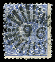 Lot 1521:96: rays (1e) on 2d Lined-Oval. [Rated 2R]  Allocated to Gympie Creek-PO 1/12/1867; renamed Gympie PO 9/7/1868.