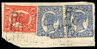 Lot 9348:Charleville: overlapping strikes of two-lined 'REGISTERED/CHARLEVILLE' on 1d & 2d 4-Corners pair (one faulty).  PO 1/8/1865.
