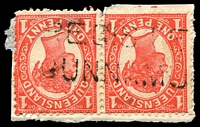 Lot 9349:Cunnamulla: two-lined 'REGISTE[RED]/CUNNAMU[LLA]' on 1d 4-Corners pair.  PO 1/3/1868.