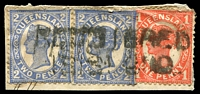 Lot 1720:Isisford: two-lined 'REGISTERED/ISISFORD' on 1d 4-Corners & 2d 4-Corners x2.  Renamed from Wittown PO 1/1/1878.
