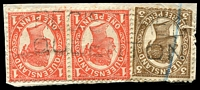 Lot 7922:Queenton: two-lined 'REGISTERED/QUEENTON' on 1d pair & 3d 4-Corners.  RO c.1880; PO 15/11/1883; closed 31/7/1977.
