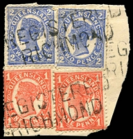 Lot 7924:Richmond: 2 strikes of two-lined 'REGISTERED/RICHMOND' on 1d x2 and 2d 4-Corners x2.  Renamed from Richmond Downs PO 31/5/1899.