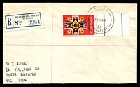 Lot 2219 [1 of 2]:Beaumaris South: - 'RELIEF/30AP68/61/VIC-AUST' on 25c Xmas on cover with blue registration label. [Only recorded date]  Renamed from Beaumaris PO 28/8/1957; closed 26/2/1988.