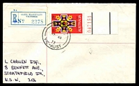 Lot 13701 [1 of 2]:Glen Waverley (2): - 'RELIEF/7MR68/73/VIC-AUST' on 25c Xmas on registered cover with blue nregistration label. [Only recorded date]  Replaced Glen Waverley North PO 4/12/1963; replaced by The Glen PO c.-/1/1994.