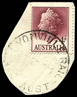 Lot 15357:Lyonville Rail: - WWW #20 'LYONVILLE RAIL/????????7/VIC-AUST' on 4d lake QEII (cut-to-shape). [Rated PPP]  TO c.1910; PO c.1913; closed 31/10/1962.