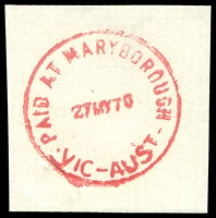 Lot 15415:Maryborough: - WWW #630 'PAID AT MARYBOROUGH/27MY70/VIC-AUST' in red. [Rated PPP]  PO 19/10/1854.