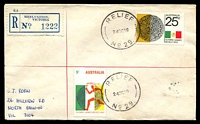 Lot 3200 [1 of 2]:Merlynston: - 2 strikes of 'RELIEF/24OC68/NO 29.' on 5c & 25c Olympics on cover with blue registration label. [Only recorded date]  PO 7/5/1928; LPO 11/8/1993.