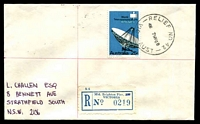 Lot 2599 [1 of 2]:Middle Brighton Pier: - 'RELIEF NO. 42/430 7MY68/VIC-AUST' on 25c Intelsat on cover with blue registration label ('S.5' crossed out). [Only recorded date]  PO 1/6/1934; closed 7/1/1976.