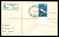Lot 3080 [1 of 2]:Nunawading: - 'RELIEF/4JE68/73/VIC-AUST' on 25c Intelsat on cover with blue registration label. [Only recorded date]  Renamed from Tunstall PO 1/11/1945; LPO 16/2/1998.
