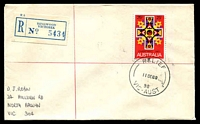 Lot 2928 [1 of 2]:Ringwood (1): - 'RELIEF/11SE68/98/VIC-AUST' on 25c Xmas on cover with blue registration label. [Only recorded date]  PO 2/8/1875; renamed Ringwood Business Centre BC 8/5/1994.