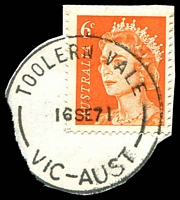 Lot 16973:Toolern Vale (2): - 'TOOLERN VALE/16SE71/VIC-AUST' on 6c orange QEII (cut-to-shape).  Renamed from Toolern PO c.1907; closed 2/9/1977.