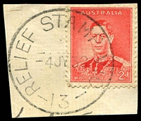 Lot 3115:13: 'RELIEF STAMP VIC./4JY38/13' on 2d red KGVI. [Rated 2P]