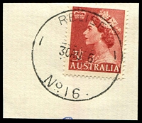Lot 3117:16: 'RELIEF/30AU56/NO16.' on 3½d red QEII.