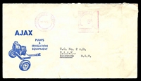 Lot 4014:Ajax illustrated cover for Pumps & Irrigation Equipment, cancelled with 11 Apr 1962 Fortitude Valley, Qld. Postage Paid meter.