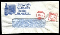 Lot 4036:Brewer's Own Ale illustrated window-faced cover (wrinkled), with 28 Sep 1979 Springvale, Vic. meter cancel.