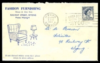 Lot 4992:Fashion Furnishing, Wyong illustrated cover franked with 5d blue QEII and 1 Apr 1963 Wyong, N.S.W. slogan cancel.