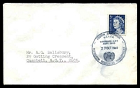 Lot 754:1969 4th ECAFE Symposium water-stained 'FOURTH SYMPOSIUM/E.C.A.F.E./CANBERRA A.C.T./AUST. 2600/27OCT1969/PETROLEUM RESOURCES DEVELOPMENT' on 5c blue QEII on cover to ACT.