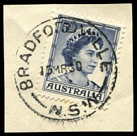 Lot 6263:Bradfordville: - 'BRADFORDVILLE/15MR60/N.S.W', on 5d blue QEII.  TO 17/11/1924; RO 23/3/1925; PO 1/7/1927; closed 10/1/1994.