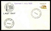 Lot 1341:Brickfield Hill: - 'BRICKFIELD HILL/19FE82/N.S.W.' (arcs 1,1) on 24c Thylacine on Philas Closing Day cover.  PO 1/7/1925; closed 19/2/1982.