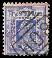 Lot 1253:1108: '1108' 2nd BN (7mm high) on 2d blue. [Rated S]  Allocated to Mount McDonald-PO 1/11/1881; closed 30/11/1954.