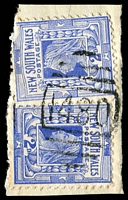 Lot 5172:1480: BN on 2d blue x2 (faults x1). [Rated SS]  Allocated to Galley Swamp-RO 1/5/1885; PO 1/9/1889; renamed Gallymont PO 1/11/1898; closed 31/10/1962.