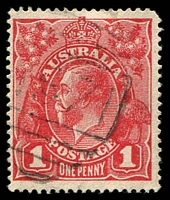 Lot 770:1571: '1571' BN on 1d red KGV. [Rated 3R]  Allocated to Wentworthville-PO 10/10/1890.