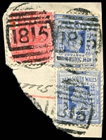Lot 6404:1815: 3 strikes of BN on 1d Arms & 2d blue x2 on registered piece. [Rated S]  Allocated to Wahroonga-PO 15/10/1896.