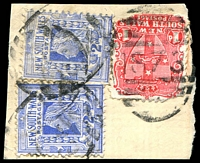 Lot 5599:1873: BN on 1d Arms (faults) & 2d blue x2. [Rated S]  Allocated to Bulyeroi-TO 30/7/1898; PO 13/8/1898; closed 12/4/1928.