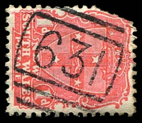 Lot 5398:631: BN on 1d Arms (corner fault).  Allocated to Cudal-PO 1/6/1872.