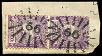 Lot 5306:66: 2 strikes of rays (3R16) on 1d Centennial pair.  Allocated to Singleton-Renamed from Darlington PO 1/12/1841.