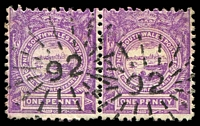 Lot 922:92: 2 partly overlapping strikes of rays (3R16) on 1d Centennial pair.  Allocated to Richmond River-PO 1/1/1849; renamed Casino PO c.1853.