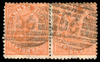 Lot 1664:53: 2 strikes of BN on 1d Lined-Oval pair. [Rated 2R]  Allocated to Charleville-PO 1/8/1865.