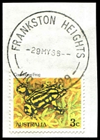Lot 14720:Frankston Heights: - WWW #20C, 'FRANKSTON HEIGHTS/-29MY86--/VIC-3199', on 3c Frog. [Rated 2R]  PO 10/2/1964; LPO 22/4/1993.