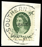 Lot 14831:Southern Cross: - 'SOUTHERN C[ROSS]/5MY64/VIC-AUST' on 5d green QEII.  PO c.-/9/1880; closed 14/6/1969.