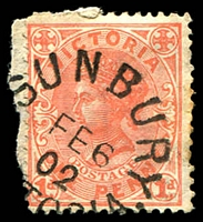 Lot 2910:Sunbury: - WWW #35 23½mm unframed 'SUNBURY/FE6/02/[VIC]TORIA' on 1d pink.  PO 13/1/1858.